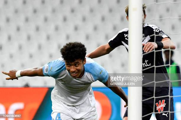 Marseille's French defender Boubacar Kamara celebrates after scoring a goal during the French L1 football match between Olympique de Marseille and FC...