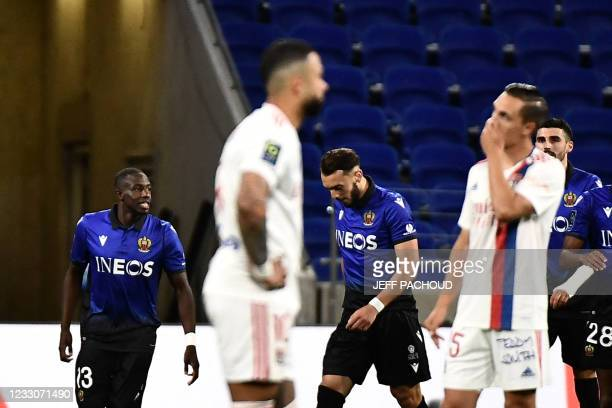 Marseille's French defender Boubacar Kamara celebrates scoring his team's second goal during the French L1 football match between Lyon and OGC Nice...