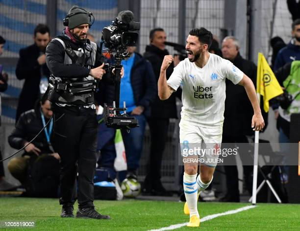 Marseille's French defender Jordan Amavi celebrates after scoring a goal during the French L1 football match between Olympique de Marseille and...