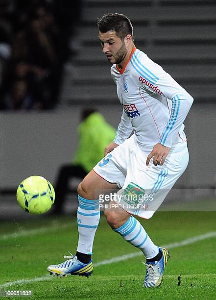 Marseille's French forward AndrePierre Gignac controls the ball during the French L1 football match Lille vs Olympique de Marseille on April 14 2013...