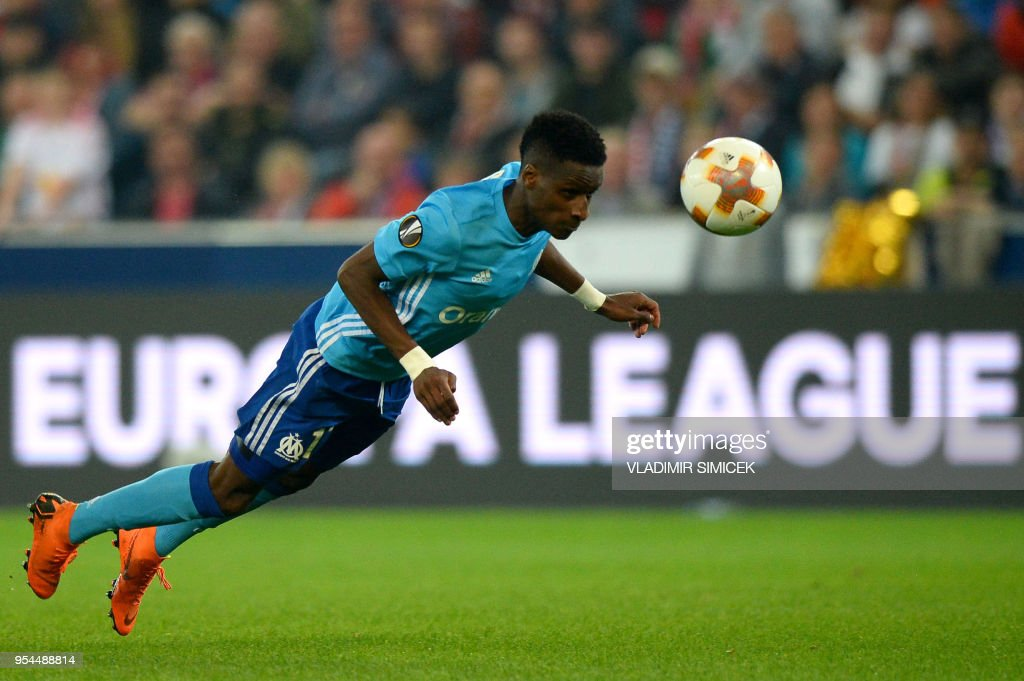 Marseille's French forward Bouna Sarr heads for the ball during the UEFA Europa League semi-final second leg match between FC Salzburg and Olympique de Marseille (OM) on May 3, 2018 in Salzburg, Austria.
