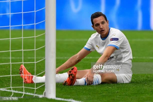 Marseille's French forward Florian Thauvin reacts after missing a goal opportunity during the UEFA Champions League Group C second-leg football match...