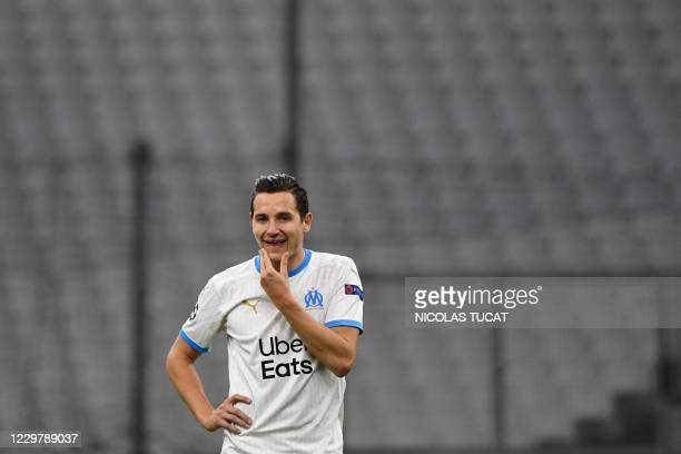 Marseille's French forward Florian Thauvin reacts during the UEFA Champions League Group C second-leg football match between Olympique de Marseille...