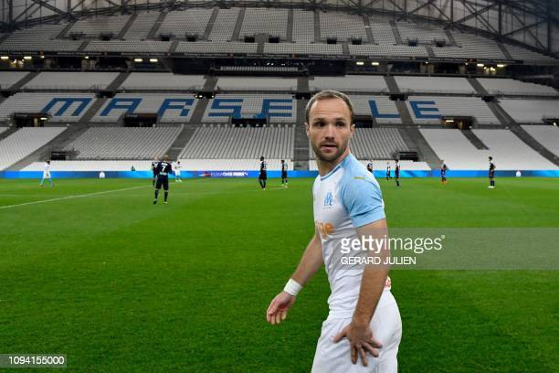 Marseille's French forward Valere Germain looks on prior to the French L1 football match between Olympique de Marseille and FC Girondins de Bordeaux...