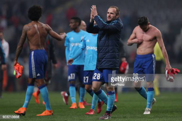Marseille's French forward Valere Germain thanks the supporter's at the end of the UEFA Europa League match between SC Braga and Olympique Marseille...
