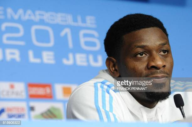 Marseille's French midfielder Abou Diaby delivers a press conference on March 16 at the Robert LouisDreyfus training centre in Marseille southeastern...