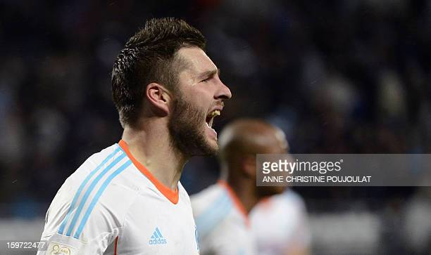 Marseille's French midfielder Andre Pierre Gignac reacts after scoring a goal during the French L1 football match Marseille vs Montpellier on January...