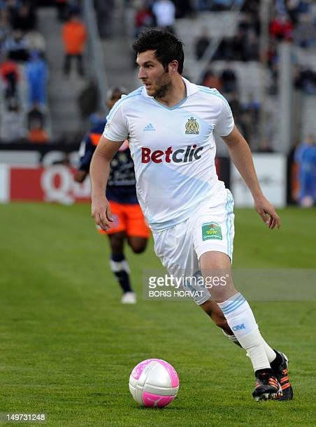 Marseille's French midfielder AndrePierre Gignac controls the ball during the French L1 football match Marseille vs Montpellier on April 11 at the...