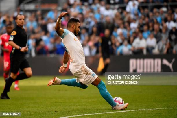 Marseille's French midfielder Dimitri Payet controls the ball during the French L 1 football match between Marseille and Caen at The Velodrome...