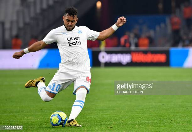 Marseille's French midfielder Dimitri Payet kicks the ball during the French L1 football match between Olympique de Marseille and Football Club de...