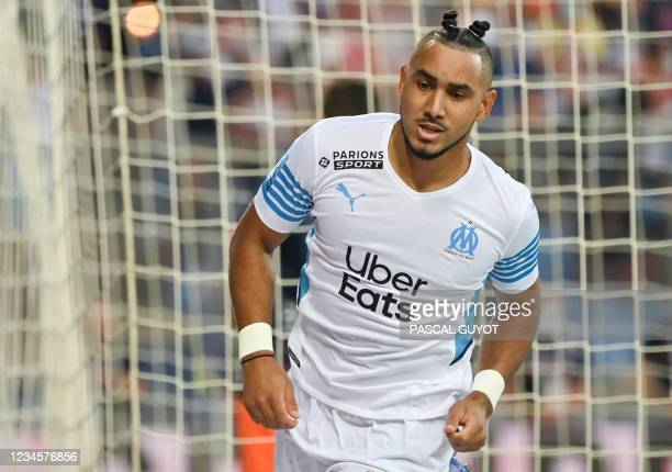 Marseille's French midfielder Dimitri Payet reacts during the French L1 football match between Montpellier and Marseille at the Mosson stadium in...