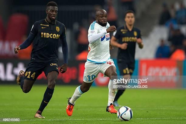 Marseille's French midfielder Lassana Diarra vies with Monaco's French Midfielder Tiemoue Bakayoko during the French L1 football match between...