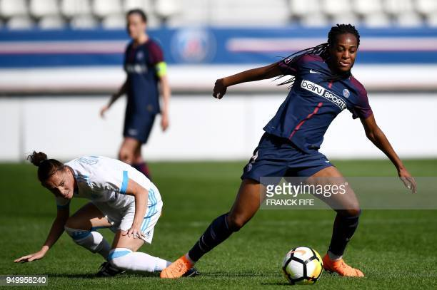 Marseille's French midfielder Nora Coton Pelagie vies with Paris SaintGermain's French forward Marie Antoinette Katoto during the French D1 Women's...