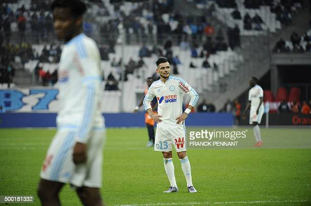 Marseille's French midfielder Remy Cabella gestures during the French L1 football match Olympique de Marseille against Montpellier on December 6 2015...