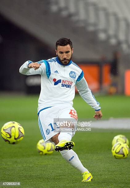 Marseille's French midfielder Romain Alessandrini kicks the ball during a training before the French L1 football match between Marseille and Lorient...