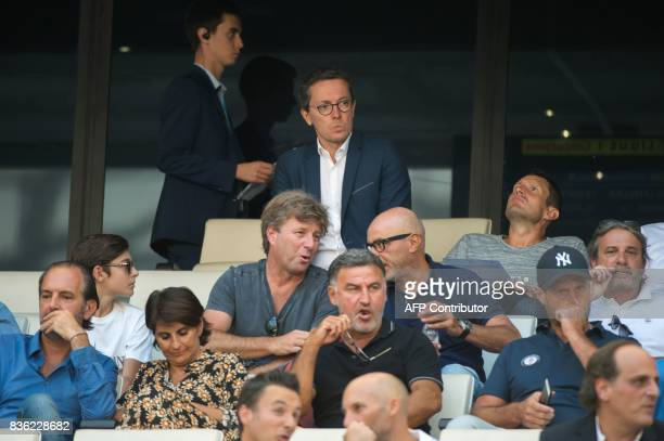 Marseille's French president JacquesHenri Eyraud sits in the tribunes prior to the French L1 football match between Olympique de Marseille and Angers...