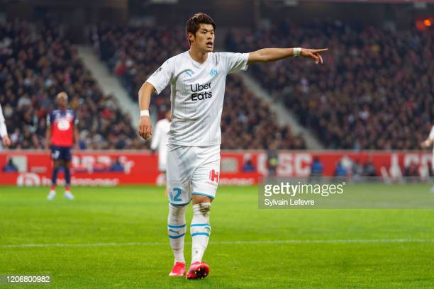 Marseille's Hiroki Sakai during the Ligue 1 match between Lille OSC and Olympique Marseille at Stade Pierre Mauroy on February 16, 2020 in Lille,...