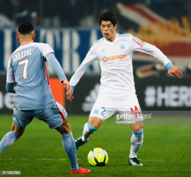 Marseille's Hiroki Sakai tries to pass the ball past Monaco's Rachid Ghezzal in a 22 draw in France's Ligue 1 at Orange Velodrome in Marseille on Jan...