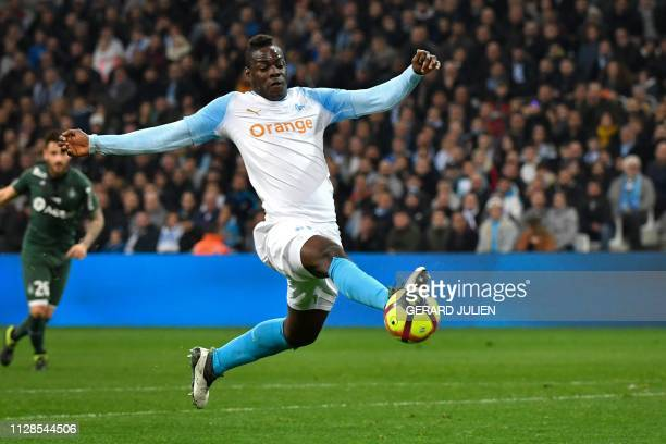 Marseille's Italian forward Mario Balotelli controls the ball during the French L1 football match between Olympique de Marseille and AS SaintEtienne...