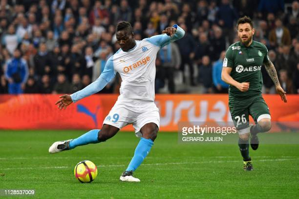 Marseille's Italian forward Mario Balotelli kicks the ball during the French L1 football match between Olympique de Marseille and AS SaintEtienne at...