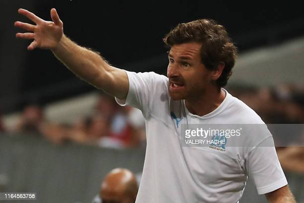 Marseille's Portuguese coach Andre VillasBoas gestures on the sideline during the French L1 football match between OGC Nice and Olympique de...