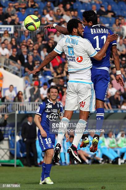 Marseille's Portuguese defender Jorge Pires de Fonseca Rolando vies with Bastia's FrenchBrazilian forward Brandao during the French L1 football match...
