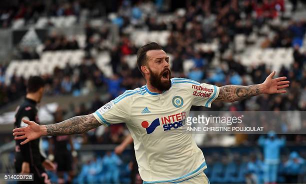 Marseille's Scottish forward Steven Fletcher celebrates after scoring a goal during the French L1 football match between Marseille and Toulouseon...