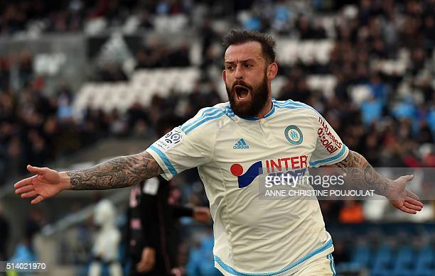 Marseille's Scottish forward Steven Fletcher celebrates after scoring a goal during the French L1 football match between Marseille and Toulouse on...