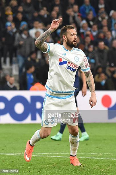 Marseille's Scottish forward Steven Fletcher gestures during the French L1 football match Olympique of Marseille versus PSG at the Velodrome stadium...