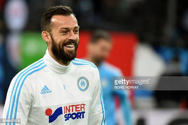 Marseille's Scottish forward Steven Fletcher warms up prior to the French L1 football match between Marseille and ParisSaintGermain on February 7...