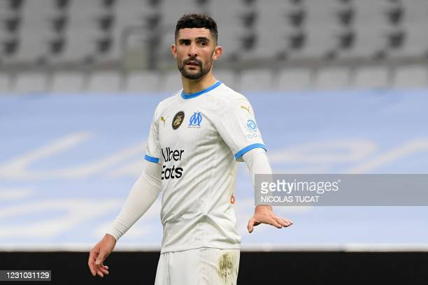 Marseille's Spanish defender Alvaro Gonzalez reacts during the French L1 football match between Olympique de Marseille and Paris Saint-Germain at the...