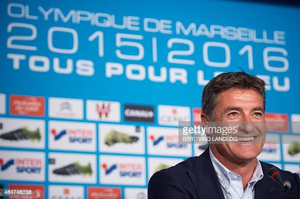 Marseille's Spanish head coach Jose Miguel Gonzalez Martin del Campo smiles as he takes part in a press conference on August 21 2015 at the Robert...