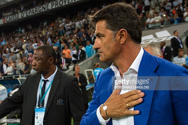 Marseille's Spanish head coach Jose Miguel Gonzalez Martin del Campo aka Michel arrives to attend the French L1 football match Olympique de Marseille...