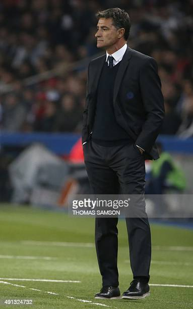 Marseille's Spanish head coach Jose Miguel Gonzalez Martin del Campo aka Michel attends the French L1 football match Paris SaintGermain vs Olympique...