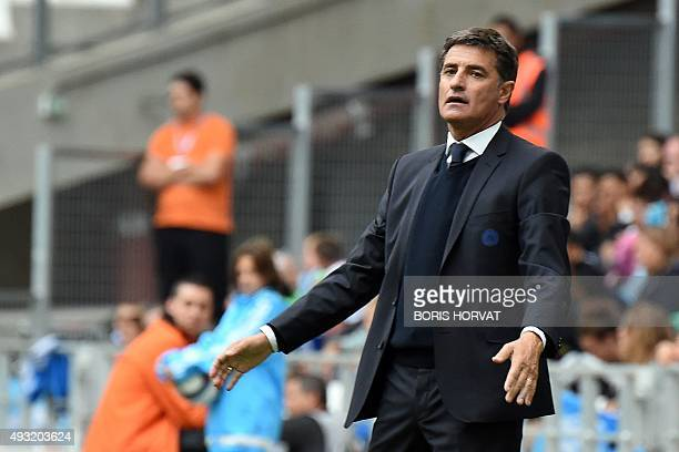 Marseille's Spanish head coach Jose Miguel Gonzalez Martin del Campo aka Michel reacts during the French L1 football match between Olympique de...