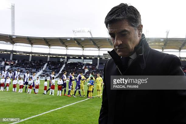 Marseille's Spanish head coach Jose Miguel Gonzalez Martin del Campo aka Michel looks on during the French League Cup football match between Toulouse...
