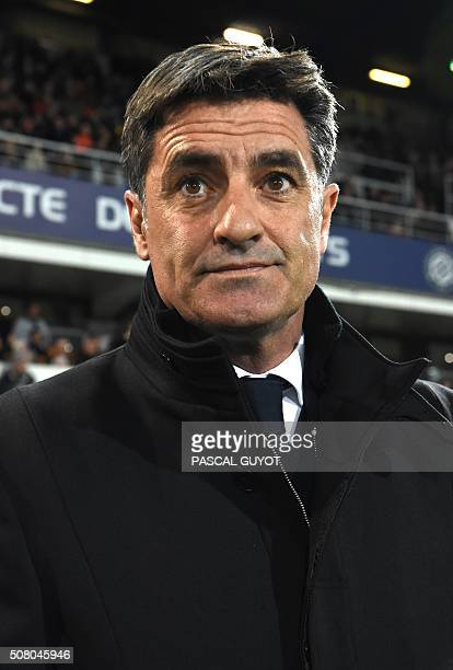 Marseille's Spanish head coach Jose Miguel Gonzalez Martin del Campo also known as Michel looks on during the French L1 football match between...