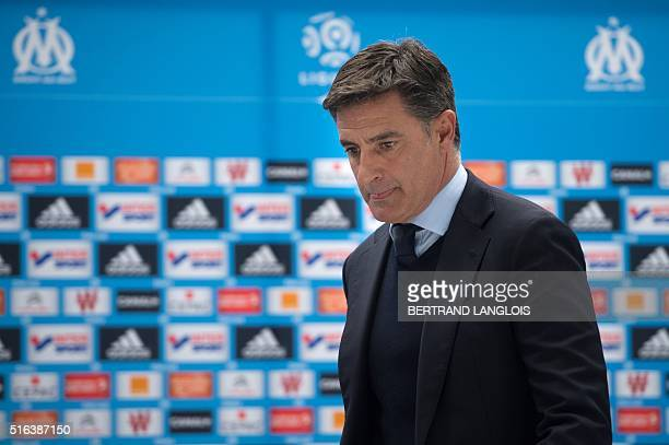 Marseille's Spanish head coach Jose Miguel Gonzalez Martin del Campo aka Michel arrives to the press conference following the French L1 football...