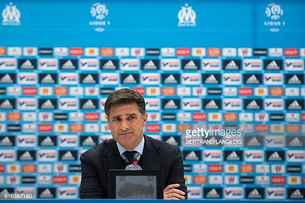 Marseille's Spanish head coach Jose Miguel Gonzalez Martin del Campo aka Michel attends the press conference following the French L1 football match...