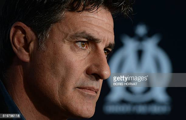 Marseille's Spanish head coach Jose Miguel Gonzalez Martin del Campo also known as Michel gives a press conference on April 8 at the Robert...