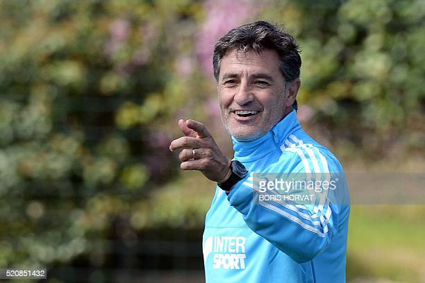 Marseille's Spanish head coach Jose Miguel Gonzalez Martin del Campo aka Michel gestures during an Olympique de Marseille training session at the...