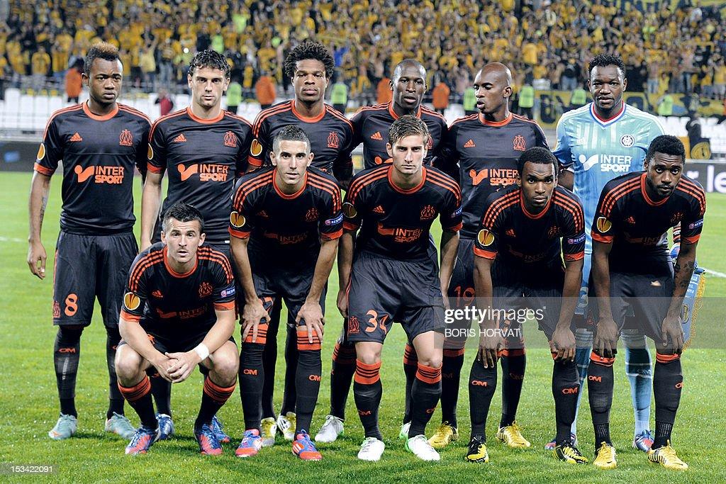 marseille s squad poses prior to the uefa europa league c group om olympique de