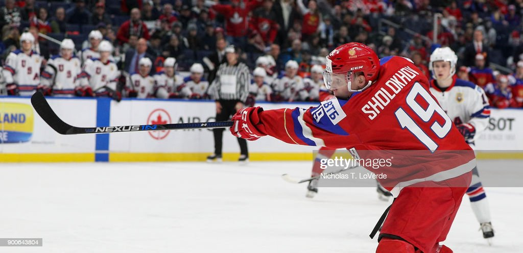 Marsel Sholokhov #19 of Russia shoots the puck against the United States during the first period of play in the Quarterfinal IIHF World Junior Championship game at the KeyBank Center on January 2, 2018 in Buffalo, New York.