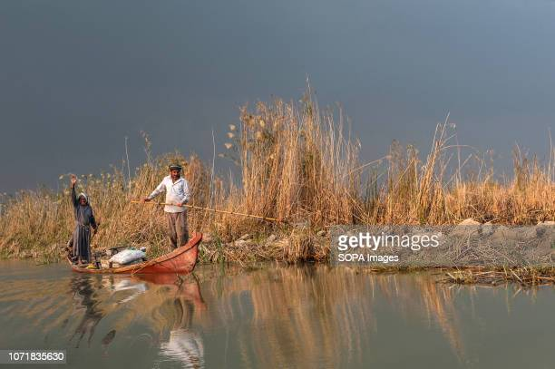Marsh Arab fishermen seen fishing in the Central Marshes of Southern Iraq. Climate change, dam building in Turkey and internal water mismanagement...