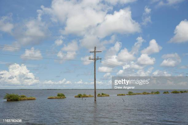 A marsh creation project stands in the coastal waters near Louisiana Highway 1 on August 24 2019 in Grand Isle Louisiana Nearly 20000 square feet of...