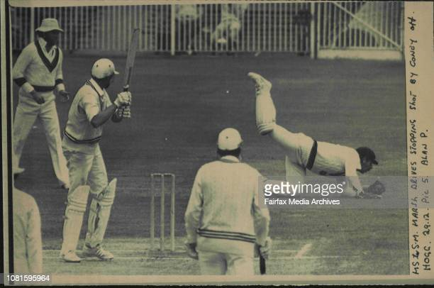 Marsh drives stopping shot by Coney off Hogg December 29 1980