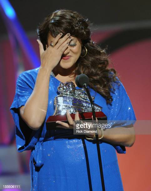 Marsha Ambrosius accepts SoulTrain Ashford & Simpson Songwriter Award at the 2011 Soul Train Awards at The Fox Theatre on November 17, 2011 in...