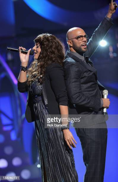 Marsha Ambrosius and Common perform during the 2011 Soul Train Awards at The Fox Theatre on November 17, 2011 in Atlanta, Georgia.