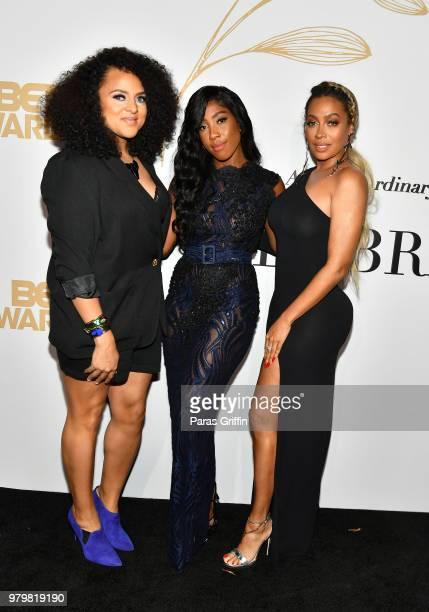 Marsha Ambrosius, Sevyn Streeter, and LaLa Anthony attend the Debra Lee Pre-BET Awards Dinner at Vibiana on June 20, 2018 in Los Angeles, California.