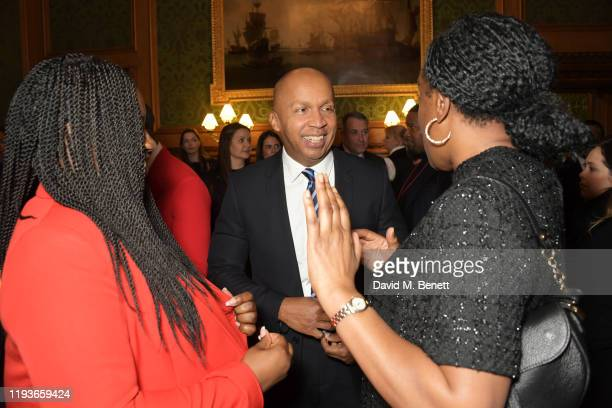 Marsha De Cordova MP Bryan Stevenson and Kate Osamor MP attend an evening at the House Of Lords for the upcoming film Just Mercy on January 14 2020...